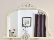 "White Arched Top Decorative Ornate Mirror Large 50""x36"" 127cm x 91cm *FREE P&P*"